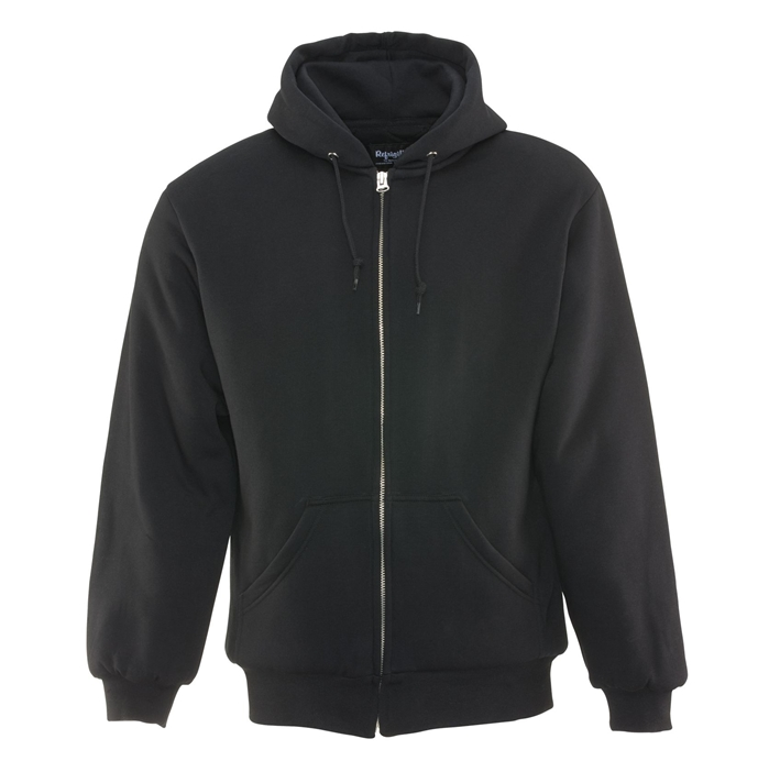 Insulated Quilted Black Hooded Sweatshirt