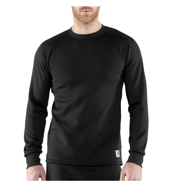 Base Force Cotton Super-Cold Weather Black Crew Neck Top