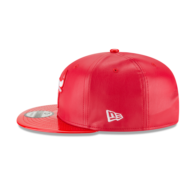 the best attitude e2444 ef3bf New Era Chicago Bulls Scarlet Synthetic Leather Hat. click on thumbnail to  zoom