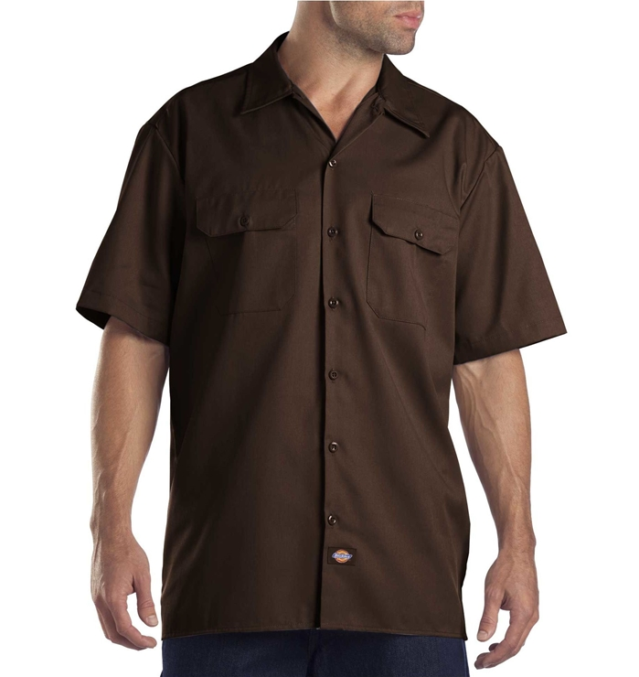 Dickies Short Sleeve Dark Brown Work Shirt