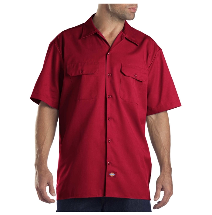 Dickies Men's Short Sleeve English Red Work Shirt