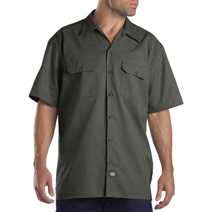 Dickies Short Sleeve Olive Green Work Shirt