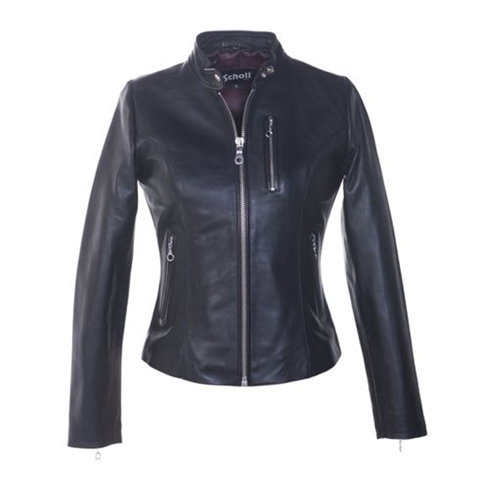 "Schott Women's Lambskin ""Cafe"" Leather Jacket"