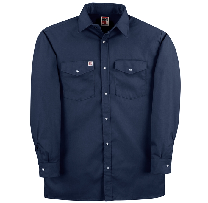 6 OZ TWILL Snap Front Long Sleeve Work Shirt