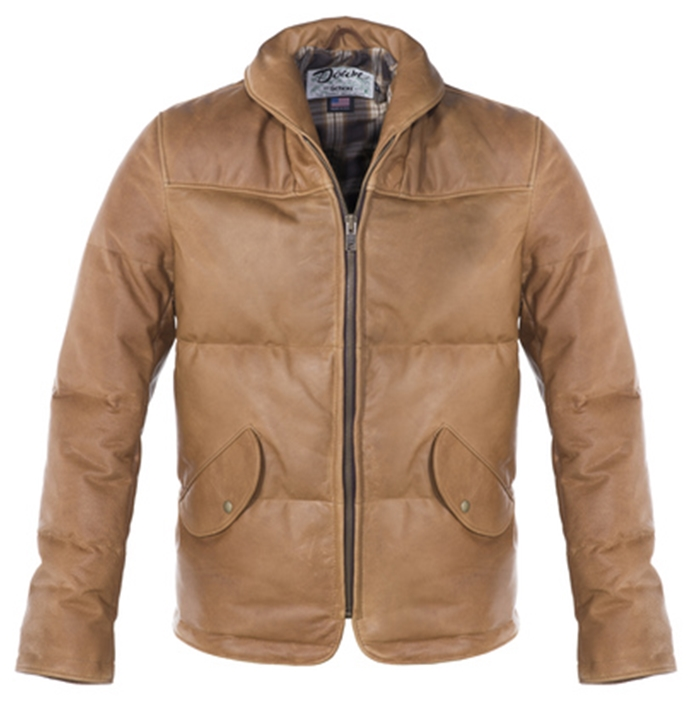 Waxy Cowhide Down-Filled Puffer Jacket