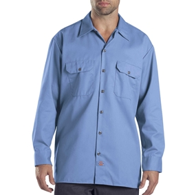 Dickies Long Sleeve Golf Blue Work Shirt