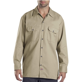 Dickies Long Sleeve Khaki Work Shirt