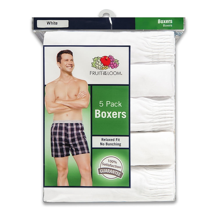 5 PACK WHITE BOXERS
