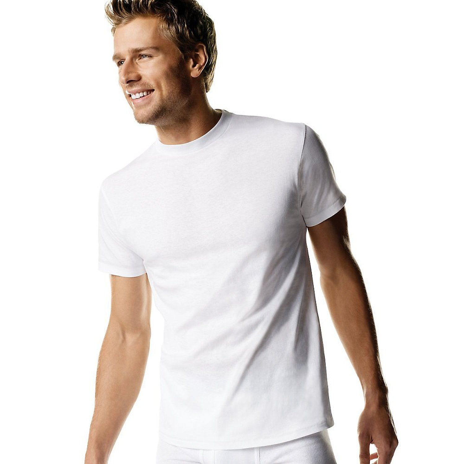 Hanes 2135 men 39 s white crew neck t 3 pack for Crew neck white t shirt