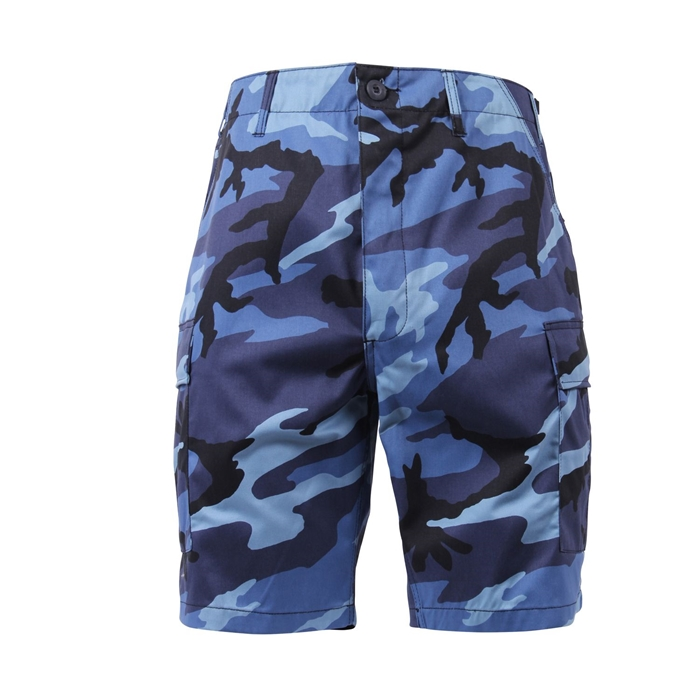 6 Pockets Colored Sky Blue Camo BDU Shorts