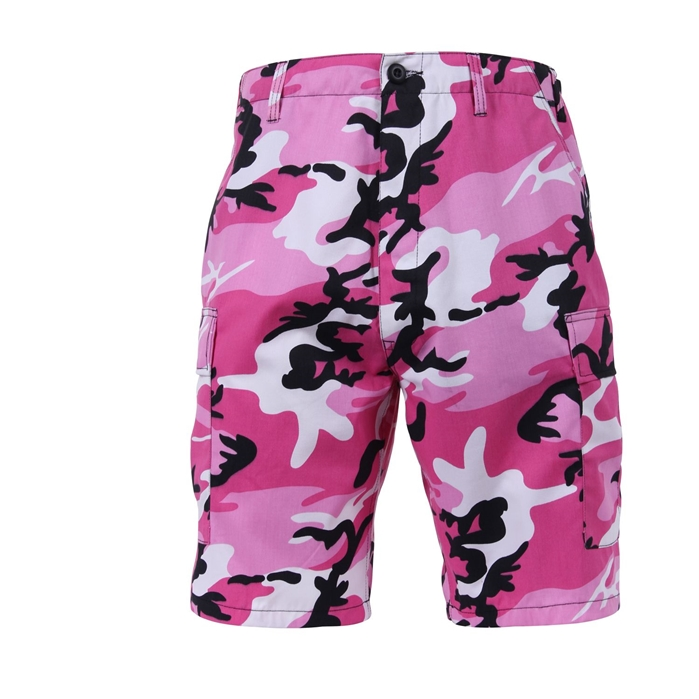6 Pockets Colored Pink Camo BDU Shorts