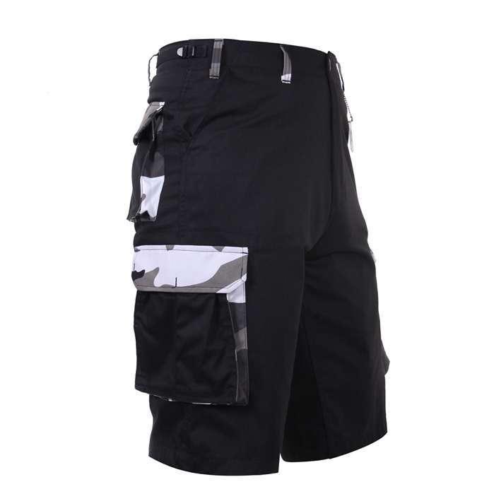 6 Pockets Black City Camo Accent Shorts