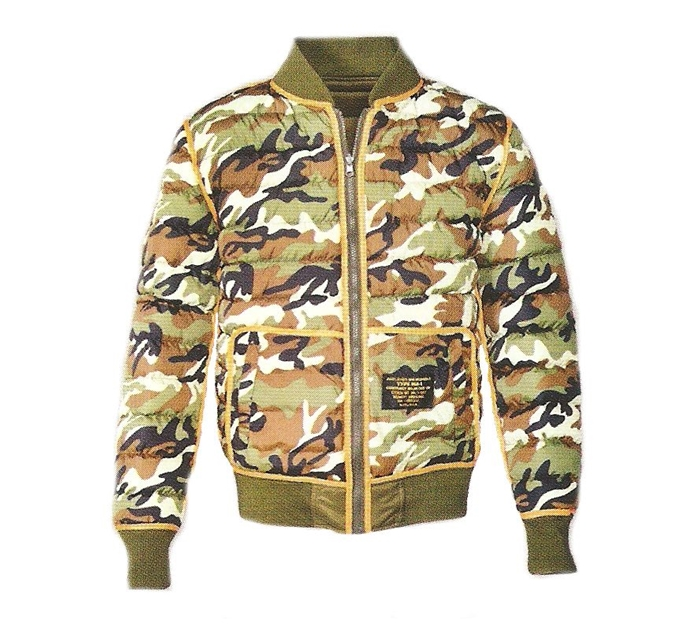 "27"" Reversible MA-1 Camo 90/10 Goose Down/Feather Jacket"