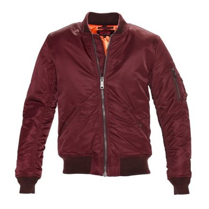 Schott Men's Nylon Burgundy Flight Jacket