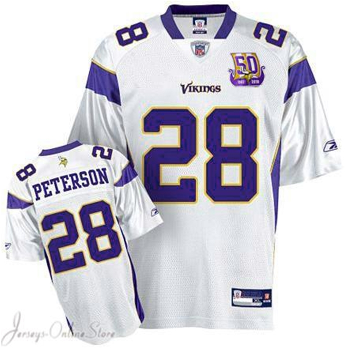 sports shoes 128af 6c53a Reebok Minnesota Vikings Adrian Peterson Authentic White Jersey