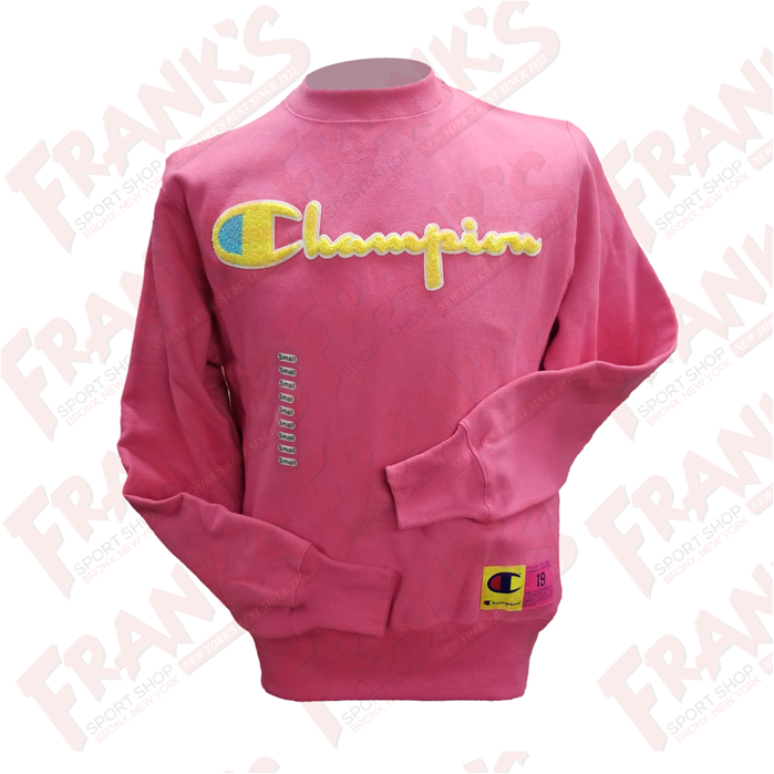 Champion Life Men's Reverse Weave Chenille Logo Reef Pink Crewneck