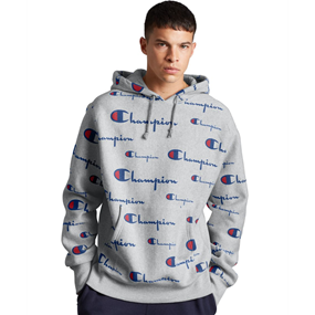 Champion Life Men's Reverse Weave Pullover Hoodie, All Over Logo