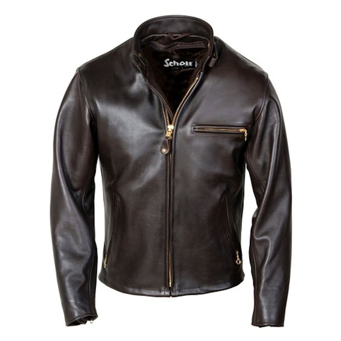 "Schott 26"" Classic Racer Leather Motorcycle Jacket"