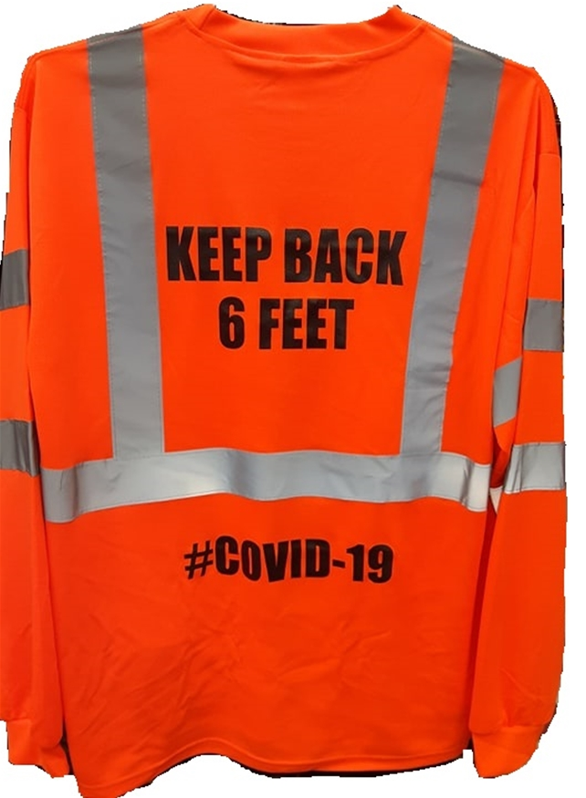 Covid-19 6ft Safety L/S T-Shirt-Orange