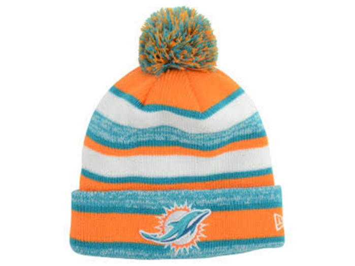 New Era Miami Dolphins Button Up Cuffed Knit Beanie