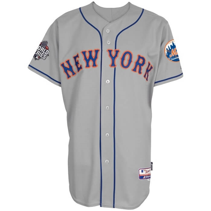 WS 2015 New York Mets Authentic On-Field Cool Base Road Jersey