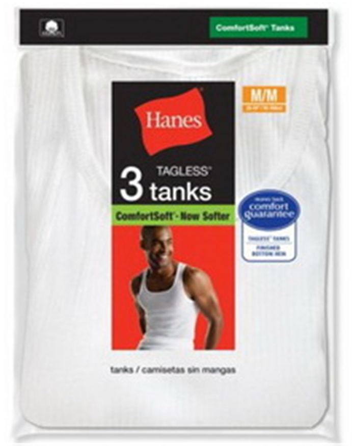 Hanes 372 Men's White A-Shirt 3-Pack
