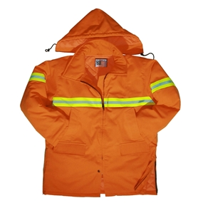 Orange Safety Parka with Reflective Tape