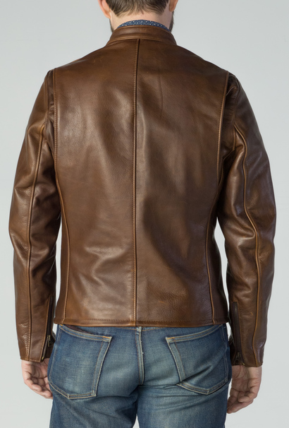 38982522cba Schott Waxed Black Natural Pebbled Cowhide Café Leather Jacket. click on  thumbnail to zoom
