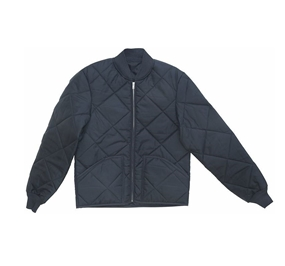 Industrial Quilted Jacket with Knit Collar & Cuffs