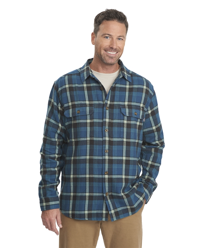 Oxbow Bend Plaid Flannel Nordic Blue Shirt