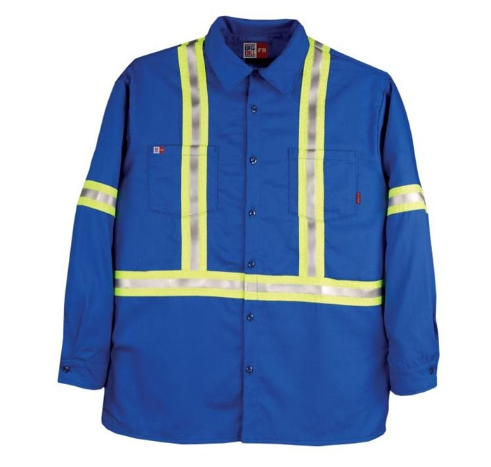 FIRE RESISTANT INDUSTRIAL WORK SHIRT WITH REFLECTIVE MATERIAL