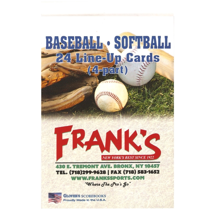 Frank's Glovers Baseball & Softball 24 Games Line-Up Cards