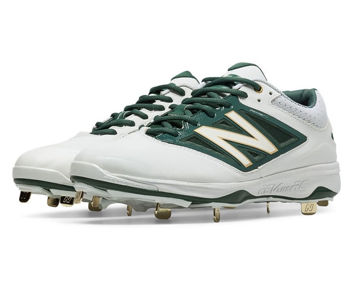 White with Green L4040OA3 Low-Cut Metal Cleat