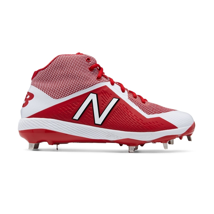 Mid-Cut Red with White M4040TR4 Metal Cleat