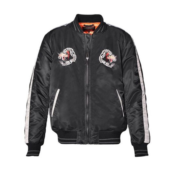 "Schott 27"" Nylon Flight Satin Souvenir Baseball Black Jacket"