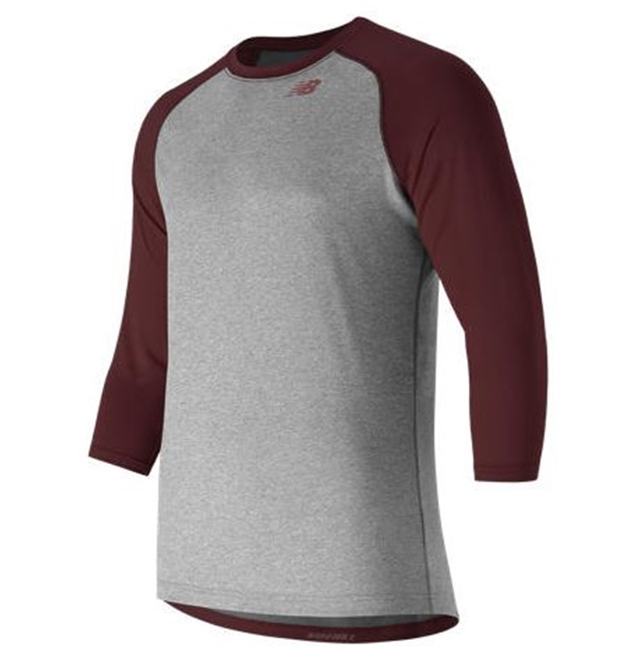 3/4 Baseball Team Maroon Raglan Top