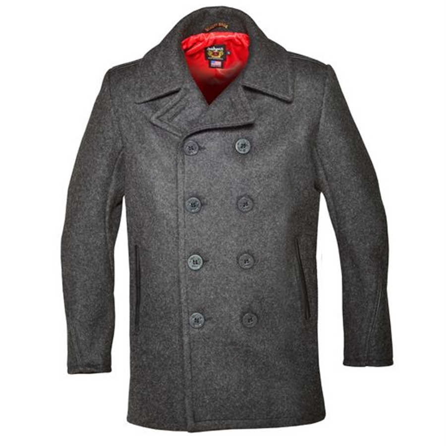 e117e870197 ... 32oz Classic Wool Naval Peacoat with Leather Trim. click on thumbnail  to zoom