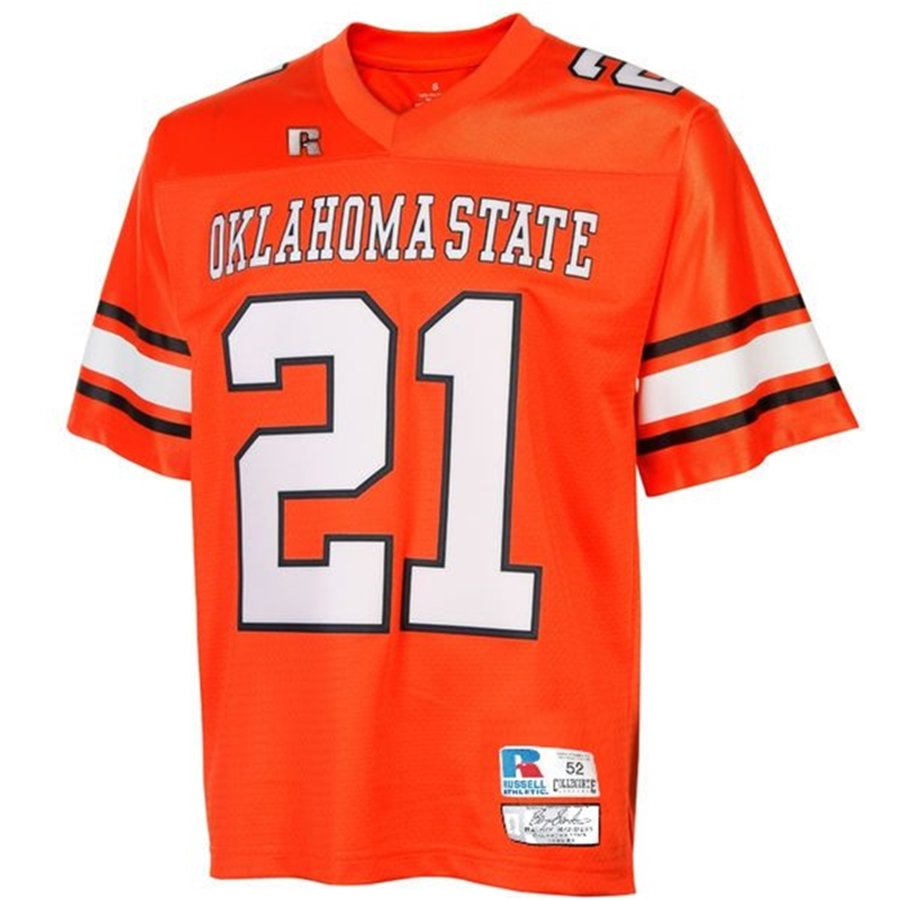 new styles c2769 726c0 Barry Sanders #21 Collegiate Oklahoma State Throwback Jersey