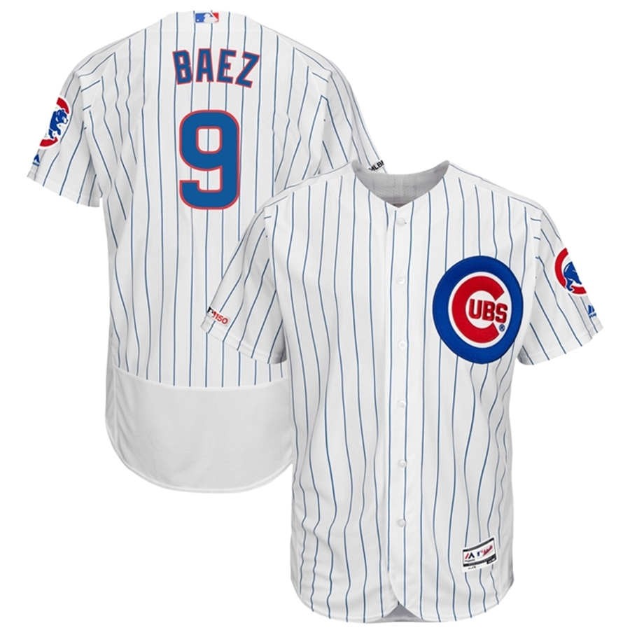 detailed look c5887 7a93b Majestic Chicago Cubs Javier Baez Pinstripe Home Authentic Jersey