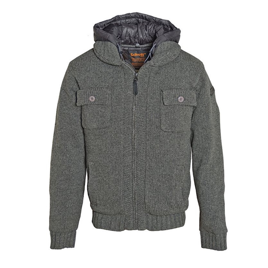 Schott Wool Acrylic IP Front Sweater Jacket