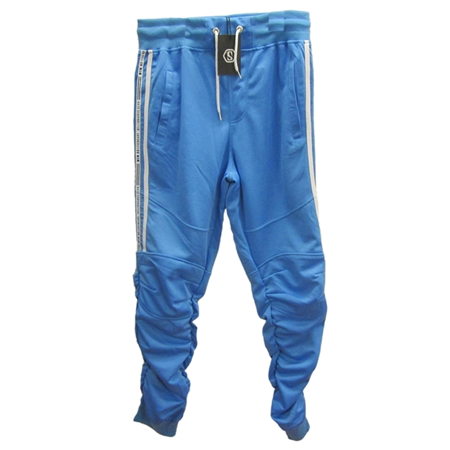 Switch Powder Blue Jogger Pants with Shirred Leg Side Stripe Tricot Pants