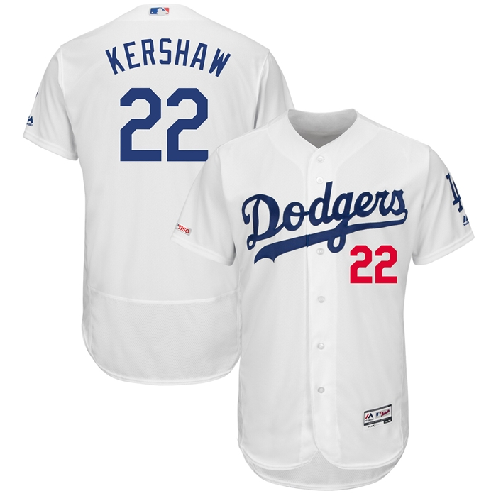 Majestic LA Dodgers Clayton Kershaw Home Authentic Jersey