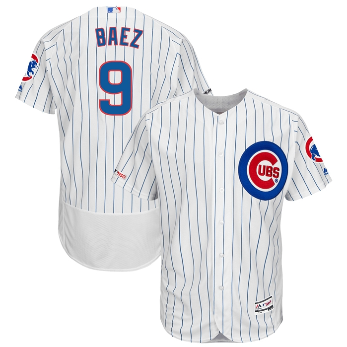 Majestic Chicago Cubs Javier Baez Pinstripe Home Authentic Jersey