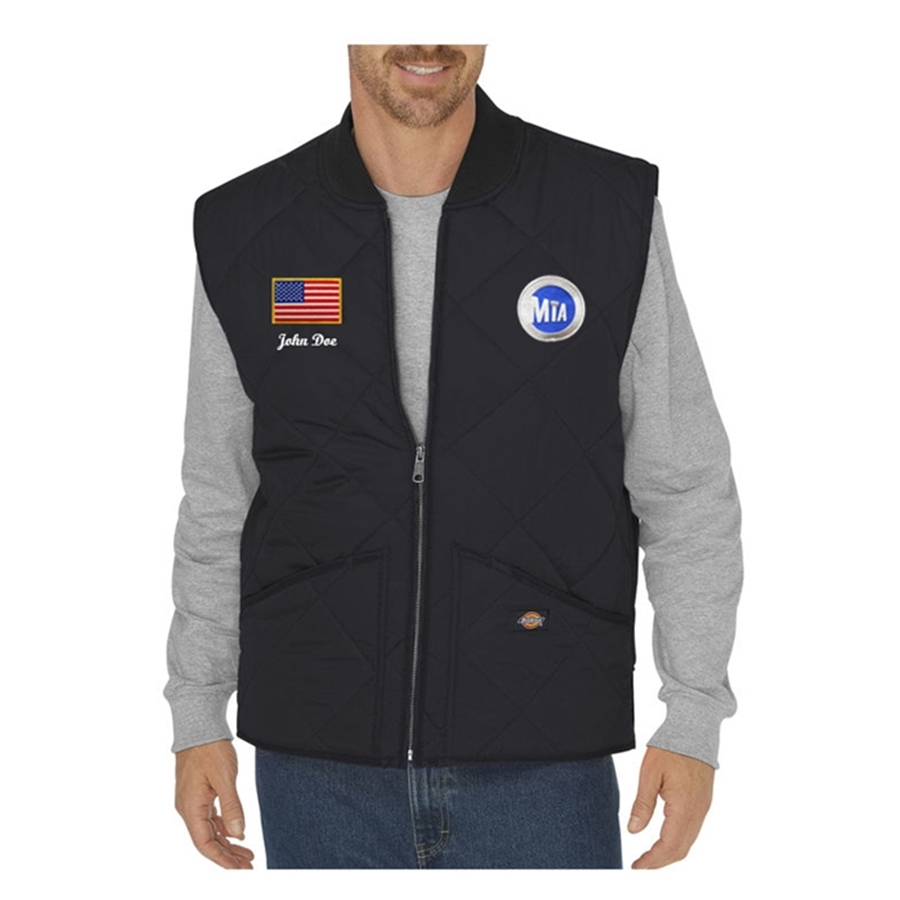 Custom dickies mta bus diamond quilted nylon vest for Nyc custom t shirts