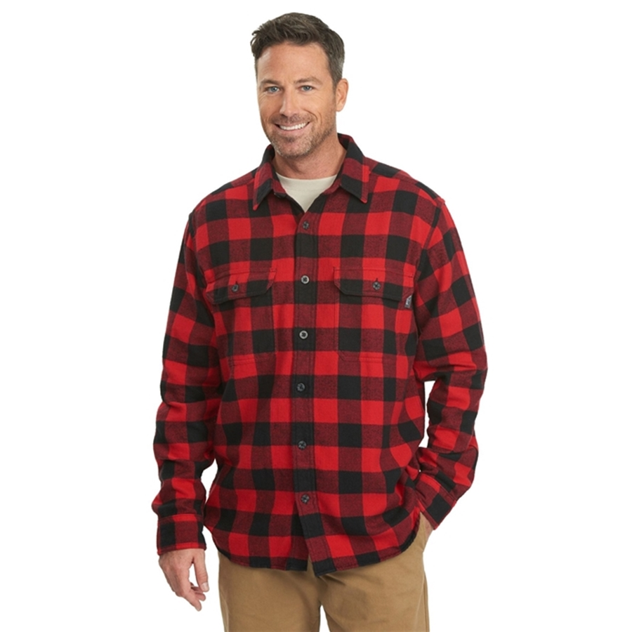 Oxbow bend plaid flannel old red buffalo shirt for Red buffalo flannel shirt